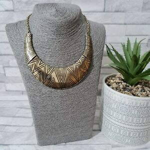 Statement Bib Necklace Goldtone Metal Egyptian Ethnic Tribal Costume Jewellery