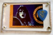 Rare KISS Ace Frehley gold card #F07 / blue signature tour guitar pick display!!