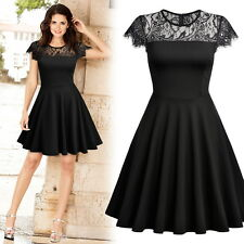 Women Retro Elegant Short Sleeve Lace Cocktail Business Party Flare Mini Dress