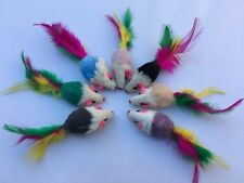 Cat toy lot 10 Colorful Real Fur Mice/ Feathers/Catnip+++FREE 4 Mice/Balls