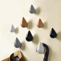 Wood Wall Hanger Chic Water Drop Bathroom Door Coat Hat Single Hook Holder Gift