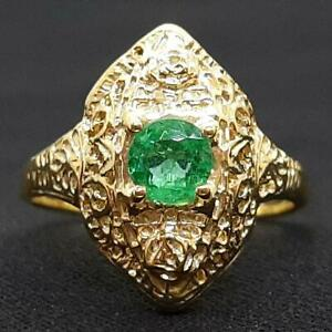 Antique Filigree .45ct Colombian Emerald 14K Yellow Gold 925 Silver Ring SZ 6.25