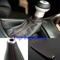 JDM Black Real Leather Red Stitch Manual/Auto Gear Shift Knob Shifter Boot Cover