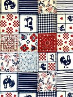 Farm Country House Animal Cotton Quilting Fabric Blue White Red 110cm . 5 Metre
