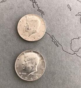 Lot Of 2 1964-D Silver Kennedy Half Dollars -Estate