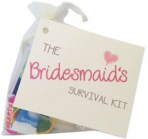 Bridesmaid Survival Kit.  Novelty weddingSurvival Kit favour gift