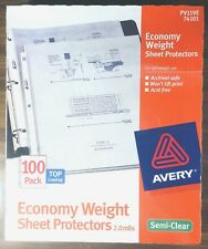 Avery Economy Weight Sheet Protectors 20 Mil Top Load 100 Pack Pv119e 74101 New