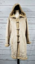 Unbranded Khaki Faux Fur Parka Trench Coat Jacket Toggle Womens L Large