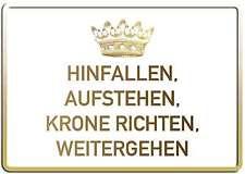 HINFALLEN AUFSTEHEN FUNSCHILD - 10x15 cm Blechkarte Blechschild 15049