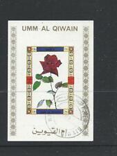 Umm-al-Qiwain Single Rose Mini Sheet Used Gum on Rear