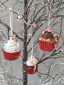 3 x CUPCAKE Christmas Tree Bauble Ornament Cupcakes Buns Baking Home Decoration
