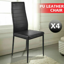 4 Pcs PU Leather Modern Dining Chair Kitchen Stool Set High Back Seat