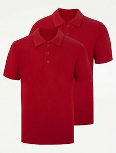 EX F&F 4 Pack Red Polo Shirts School Uniform Sports Primary Kids Childs