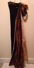 New! Ralph Rucci Black Ball Gown Dress with Silk Taffeta Brown and Cream Train