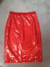 AUTHENTIC ESCADA WOMENS RED SEQUINS SKIRT - Sz 36/US 6 MINT CONDITION