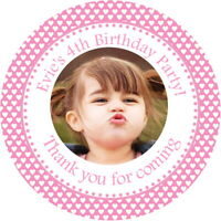 PERSONALISED GLOSS  PHOTO STICKERS FOR PARTY FAVOURS BAGS & SWEET CONE LABELS