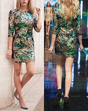 New Ladies ¾ Sleeves Sequin Leaf Print Dress (UK 08-14)