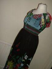 khushi ladies womens black floral multi print maxi dress size 10