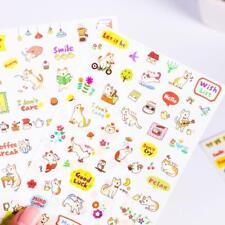 6X Cute Cat Diary Decoration Sticker Kawaii Cartoon Transparent PVC Sticker New
