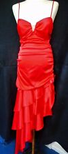 Little Red Satin Dress size 5 Blondie Nites By; Linda Bernell Rhinestone on bust