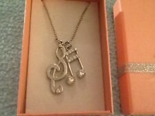 New Silver Tone Music Notes Clef Austrian Crystal Pendant Charm Necklace