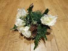 ARTIFICIAL SILK FLOWERS CHRISTMAS WHITE ROSES HOLLY GOLD FIR CONES BUNCH