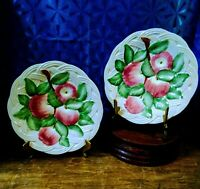 "(2) 1940s San Marco Pottery (Italy) Basketweave & Apples Majolica Plates/8""/RARE"