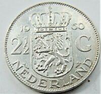 1960 NETHERLANDS Juliana, Silver 2-1/2 Gulden grading EXTRA FINE.