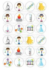 24 Scientist Science Wafer / Rice Paper Cupcake Topper Edible Fairy Cake Toppers