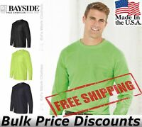 Bayside Mens Blank USA-Made Long Sleeve T Shirt with a Pocket 8100 up to 4XL