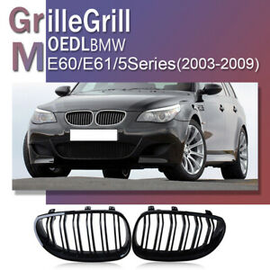 Pair Gloss Black Front Kidney Grille Grill For BMW E60 E61 5 Series M5 2003-2010