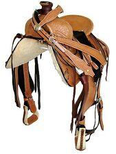 """Thsl"" Western Roper Ranch Saddle Set - Lt Oil Brown 18"" Hard Seat(Ws_1058)"