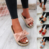 WOMENS LADIES STUDDED BOW FLATFORMS PLATFORMS SLIP ON SANDALS HEELS SHOES