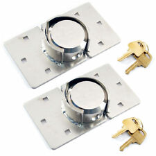 2 X VAN LOCK GARDEN SHED 73MM SECURITY PADLOCK AND HASP SET CHROME PLATED NEW BN