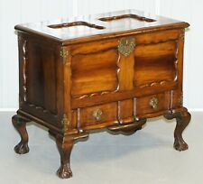 LOVELY VINTAGE MAHOGANY ORNATELY CARVED TRUNK CHEST WITH DRAWER CLAW & BALL LEGS