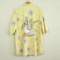 Vintage 90s Tommy Bahama Cotton Rayon Hawaiian Camp Shirt Martini Shaker L Aloha