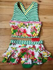 NWT HANNA ANDERSSON GREEN FLORAL SWIM SKIRT REVERSIBLE TANKINI SWIMSUIT 110 5