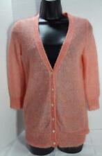 JCREW womens coral peach V-neck 3/4 sleeve mohair blend cardigan sweater XS