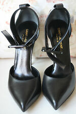 Saint Laurent Paris Cuero Negro Tacones Con Brazalete De Tobillo 38 Reino Unido 5