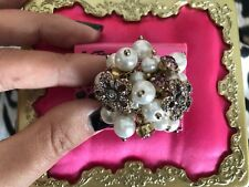 Betsey Johnson Spring Bloom Pearl Shaky Crystal Pink Flower Stretch Cluster Ring