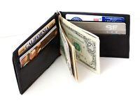 Black Genuine Leather Bifold Spring loaded Money Clip Mens Wallet Front Pocket