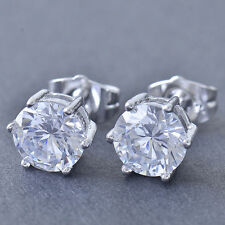 Nice New White Gold Filled 6 Prong Set 7mm Clear Round CZ Stud Post Earrings