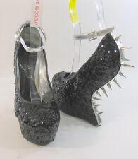 "Privileged Black Spike 6.5"" Wedge 2"" Platform Ankle Strap Sexy Shoe Size 7"
