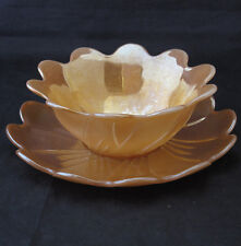 VINTAGE RETRO FIRE KING  PEACH LUSTER WARE LOTUS BLOSSOM DESSERT BOWL SAUCER