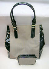 New Estee Lauder Tote  Hand bag Purse &  Makeup Case Black Patent 7 Tan Striped