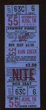 August 18th 1969 Boston Red Sox Full Ticket