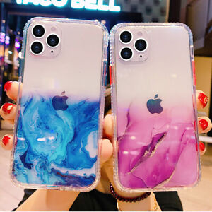 iPhone 12 11 Pro Max Clear Marble Shockproof Case Glitter Bling Cover