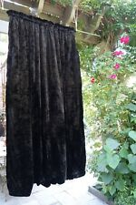 Antique Pair Silk Velvet Drapes Curtains Jet Black Beautiful Heavy Shiny Nap