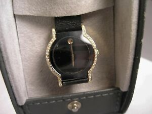 Rare Movado Hoirizon Ladies 18 K Solid Gold & Diamond Watch w Boxes & Booklets