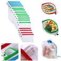 3/12/15pcs Reusable Washable Mesh Bags for Grocery Fruit Toys Sundries OrganizHC